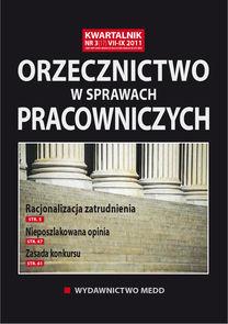 Orzecznictwo W Sprawach Pracowniczych - kwartalnik - prenumerata półroczna już od 59,00 zł